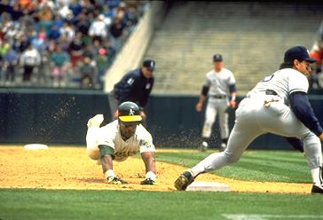 Rickey stealing third for the A's