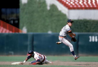 Alan Trammell turning the double play for the Tigers