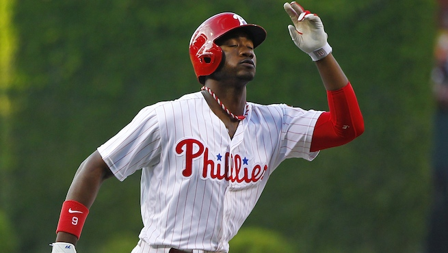 PHILADELPHIA, PA - MAY 31: Domonic Brown #9 of the Philadelphia Phillies in action against the Milwaukee Brewers in an MLB baseball game on May 31, 2013 at Citizens Bank Park in Philadelphia, Pennsylvania. The Brewers defeated the Phillies 8-5. (Photo by Rich Schultz/Getty Images)