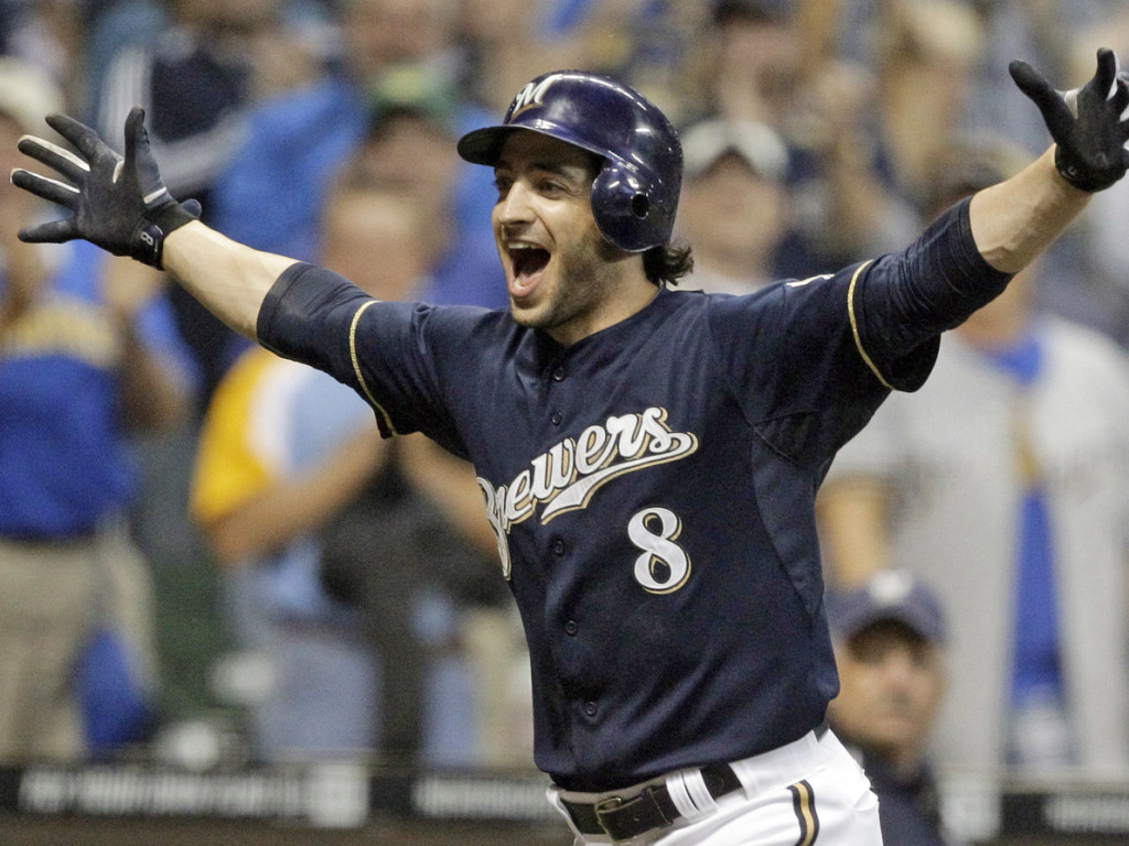 FILE - In this Sept. 13, 2011 file photo, Milwaukee Brewers' Ryan Braun reacts after hitting a game-winning home run during the 11th inning of a baseball game against the Colorado Rockies, in Milwaukee. Braun won the National League MVP Award in voting announced Tuesday, Nov. 22, 2011. (AP Photo/Morry Gash)